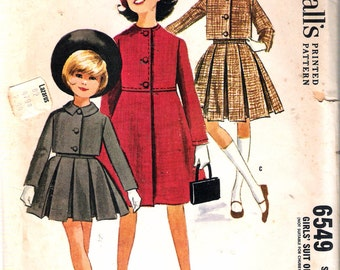 Vintage 1962 McCall's 6549 Girl's Suit or Coat Sewing Pattern Size 12 Breast 30""