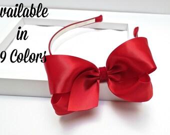 Red Satin Bow on a Velvet Headband, Girls Headbands, Christmas Headband, Adult Women Hair Accessories, Toddler Headband, Hair Bows, 904