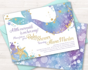 Mermaid Baby Shower Invitation, Mermaid Invitation, Mermaid Shower Invitation, Baby Shower Invite, Little Mermaid, Under the Sea Party