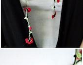 Oya Crochet Necklace Red Flowers Beaded Lariat Necklace Jewelry Green Leaves Jewellery, Beadwork, ReddApple