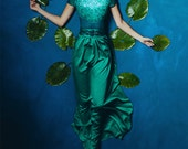 Emerald iriss -  Maxi dress, Green long dress