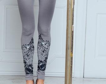 Grey nuance - Printed leggings / Womens leggings / Grey leggings