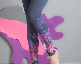 Lavander garden - Printed leggings/ womens leggings/grey leggings