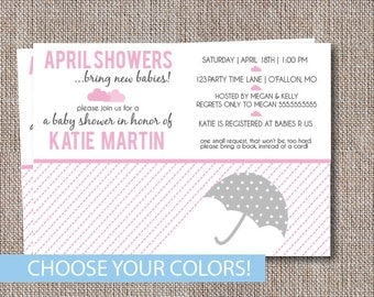 Umbrella Baby Shower Invitation, April Showers bring new babies Invite, Pink and Gray