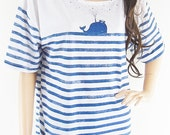 Whale Fish Sea Ocean Animal Style Front Short Than Blue Striped White tshirt women tshirt crop top screen print size L