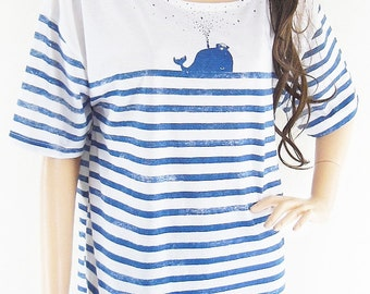 Whale Fish Sea Ocean Animal Style Front Short Than Blue Striped White tshirt Graphic shirt workout tshirt funny shirt screen print size L