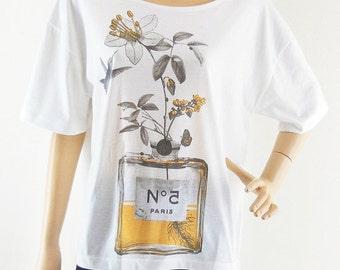 Flowers Perfume bat sleeve Art Shirt women tshirt front short than white short sleeve tshirt oversize screen print size L