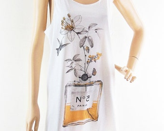Flowers Perfume Tank Top Art Tshirt Graphic Tank Top Women Shirt women tank top sleeveless size M