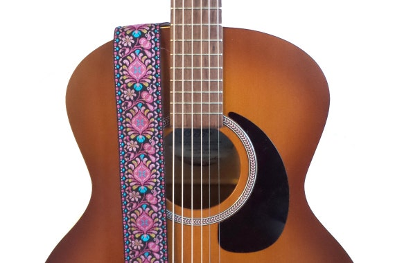 Hemp Guitar Strap Hot Pink Peacock Feathers by FeedbackStraps
