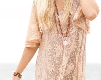 Paisley Bell Sleeves Dress in Champagne