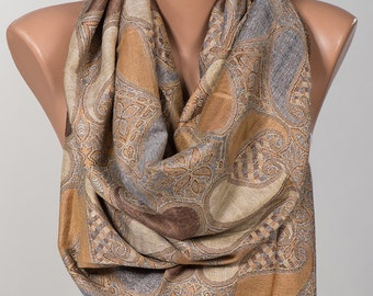 Long Scarf or Paisley Shawl Wrap.Mothers Days Scarf. Spring scarf wrap. Beige and Brown. Valentine's Day.