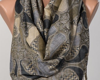 Long Fall winter Scarf or Shawl. Fashion accessories. Mothers Days Scarf. Beige and Black and Gray Gift for her.