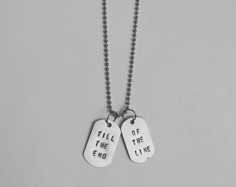 Till the end of the line - Steve Rogers Bucky Barnes - Captain America Winter Soldier-  Geeky Friendship Necklace - Dog Tag Necklace