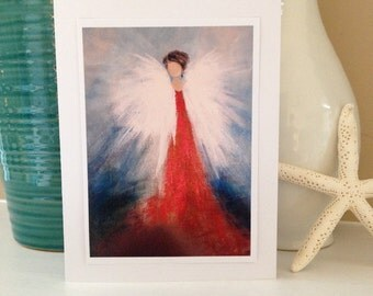 5x7 Fine Art Greeting Card from Original Abstract Angel in Blue, Gold, Red and White Painting