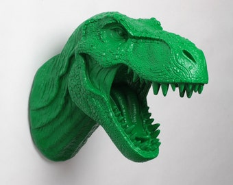 Dinosaur Head Wall Mount - The Sebastian Kelly Green Resin T-Rex Wall Decor - Trex Dinosaur Decor by White Faux Taxidermy- Jurassic Bedroom