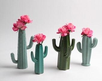 SALE - Cactus Vase Large Forest Green Cactus Bud Vase - White Faux Taxidermy - Table Top Decor - Cactus Decor - Cactus Gift - Cactus Planter