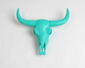 Animal Skull in Turquoise - Resin Bison Skull Head by White Faux Taxidermy - Chic Western Decor - Animal Wall Decor & Hanging Ornament