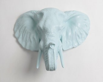 OVERSTOCK SALE - The Bailey Elephant in Cotton Candy Wall Hanging  - Resin Elephant Mount - Fake Animal Head