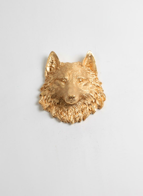 Gold Wolf Head Wall Decor : The Otis Faux Wolf Head by White Faux Taxidermy - 1 Gold Mini Resin Wolf Head - Chic Grey Wolf / Coyote Bust