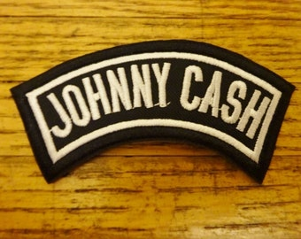 Johnny Cash Embroidered Patch. Iron On Patch. Upcycle your Jacket. Man in Black. Folsom Prison. I Walk the LIne.