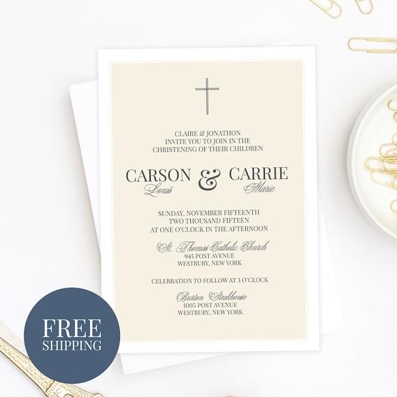 Twins Classic Baptism Invitation Traditional Christening