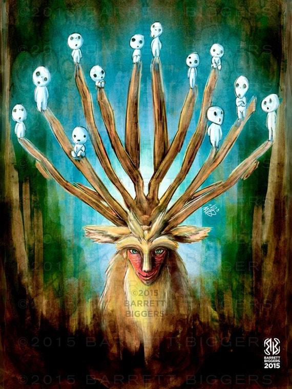 Princess Mononoke Deer God Digital Painting - signed museum quality giclée fine art print