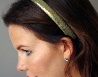 Hand stitched green nacre snake optic leather headband. Hairband. Hair Accessory.