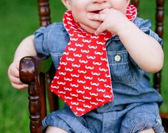 Red Mustache Baby Necktie Bib