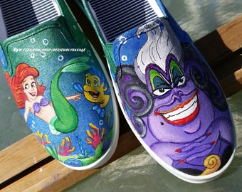New Custom Painted Little Mermaid Shoes with Ursula, Ariel and Flounder in a shiny sea of blue and green. Any size Toms Converse Vans