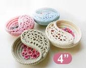 "CROCHET PATTERN - 4"" yin yang jewelry dish, Crochet basket photo tutorial. Ring bearer pillow alternative. gift ideas for her."
