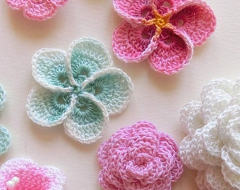 Crochet flower pattern, Crochet Plumeria Frangipani pattern, photo tutorial. Hawaiian flower applique, easy crochet pattern.