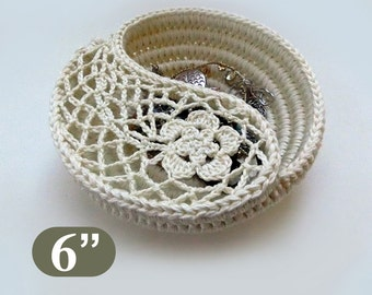 "Jewelry dish crochet pattern, instant download gift for her. Crochet patterns 6"" Yin Yang jewelry dish, photo tutorial. Basket pattern."