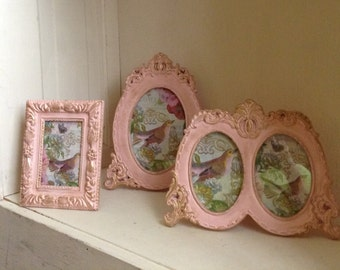 Vintage tabletop Shabby Chic French Country Cottage frames up cycled pink , distressed with gold overlay, wedding baby photo display