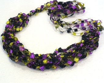 Purple, Black & Yellow Ladder Yarn Necklace: Handmade Ribbon Necklace, Crochet Choker, Fiber Jewelry, Lakers Fan Necklace