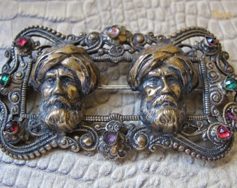 Joseff of Hollywood Age Swami or Arab Men w Turban, Glass Crystal Stone Brass-Like Metal Statement Brooch. Collectible Figural Brooch 1930's