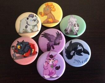 Druid Babies Buttons - Full Set of 7 Buttons