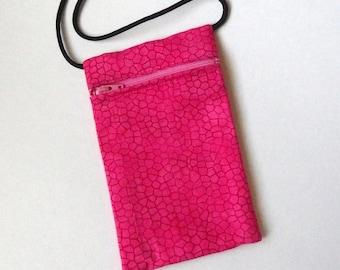 Pouch Zip Bag HOT PINK Fabric  Small fabric Purse. Great for walkers, markets, travel. Cell Phone Pouch.  sling bag coin pouch
