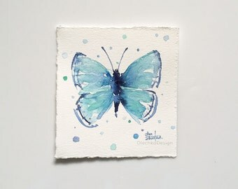 Blue Butterfly Tiny Watercolor Painting, Blue Watercolor Butterfly, Blue Butterfly Art, Butterfly Gift, Original Art by Olga Shvartsur
