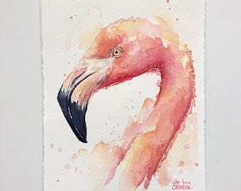 Pink Flamingo Watercolor Painting, Original Art by Olga Shvartsur, Tropical Birds Illustration, 5.5x7.5