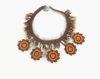 Crochet Necklace Flower Statement Necklace / Orange and Brown Crochet Necklace / Boho Crochet Bead Necklace / Crochet Choker / Gift under us