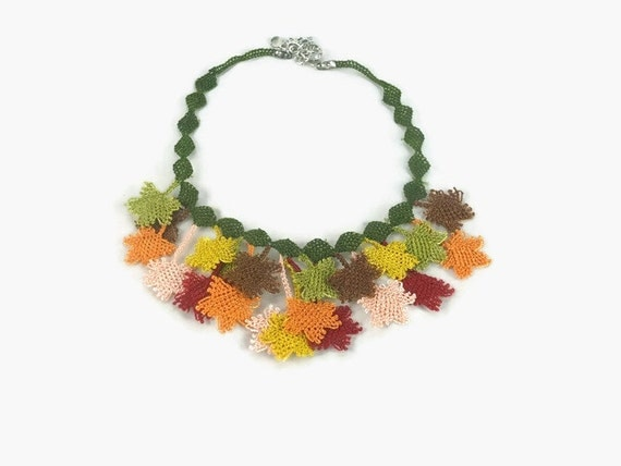 Crochet Necklace Crocheted Leaves Choker Necklace - Fall Colors - Turkish Oya Jewelry - Multicolor Statement Necklace - Tatted Lace Jewelry