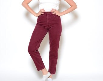 Vintage 80's GUESS Maroon High Waisted Jeans Sz 29W