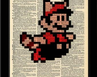 Mario Inspired Super Mario Bros. 3 Raccoon Sprite Vintage Dictionary Print