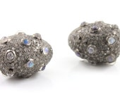 Diamond and Rainbow Moonstone Pave Bead,17x20mm, Designer Pave Diamond, Pave Diamond Jewelry, Sterling Silver Pave Bead. (DF/BD183)