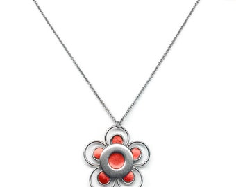 Metal Flower Necklace, Stainless Steel Jewelry for Women, Summer Jewelry, Orange Pendant, Back to School Gift
