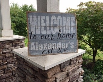 WELCOME to our HOME custom rustic wood sign