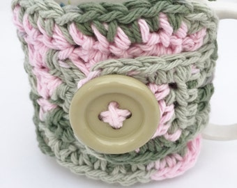 Coffee Cup Cozy Crochet, Pink Camouflage Mug Warmer, Cozy Sleeve, Stocking Stuffer,  Coffee Lover Gift