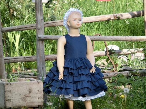 Navy blue flower girl dress cotton flower girl girls ruffle - Blumenkinder kleider ...