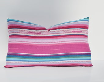 Bright Multi Color Stripe Jacquard Pillow Cover Pink, Blue, White,14 x 24, 18 x 18, 12 x 16, Many Sizes Available