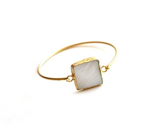 Square White Nacre Gold Plated Cuff Bracelet